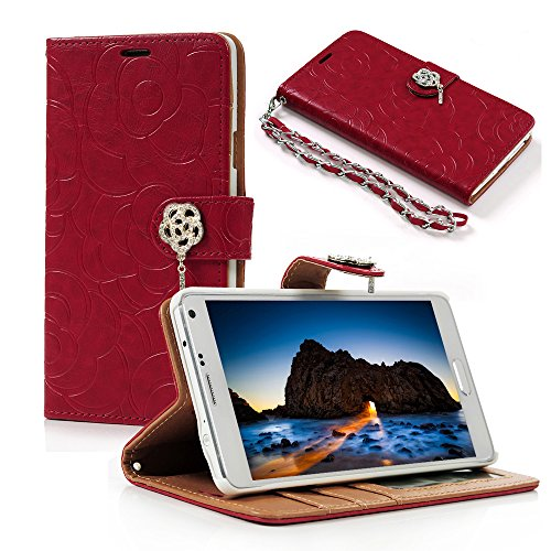 Note 4 Case, Mavis's Diary Embossed Wallet Fashion Floral PU Leather Flip Cover with 3D Bling Diamond Rose Magnetic Clasp & Card Holders & Hand Strap for Samsung Galaxy Note 4 (Red) (Note Bling Red Case 4)