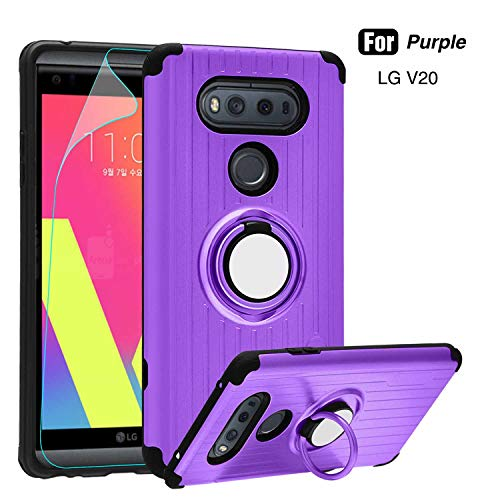 LG V20 Case - Atump 360 Degree Rotating Ring Holder Kickstand Rugged Armor Case with Built-in Screen Protector and Kickstand Shock Absorption Cases for LG V20 Purple