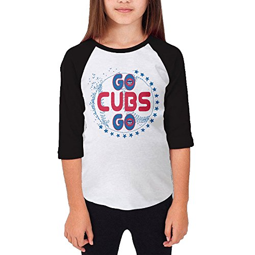 Hotboy19 Youth Girls Chicago Sport Baseball Logo Raglan Tee Baseball Shirt Black Size - T-shirt Chicago Cubs Customized
