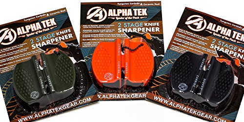 (ALPHA TEK [3 Pack] Pocket Knife Sharpener: Tungsten Carbide Ceramic Rod - for Camping and Outdoors - Colors: OD Green, Orange, Black)