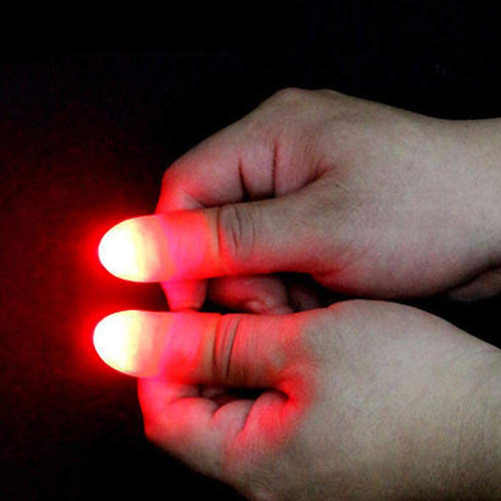 TomaiBaby 15 Sets Magic Red Light up Thumb Tips Finger Magic Tricks Fake Finger with LED Light Magic for Halloween Party Props Accessories Prank Toys