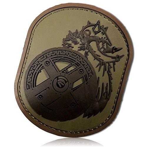 (Berserker Berserk Barbarian Champion Swedish Swed Viking w/Shield Warrior Savage Battle Fight Soldier Forest Army Badge Hook & Loop Fastener Patch [ 3.2