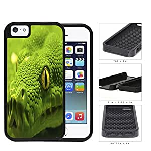 Green Tree Python Snake Eye And Scales Close-up 2-Piece Dual Layer High Impact Rubber Silicone Cell Phone Case Apple iPhone 5 5s