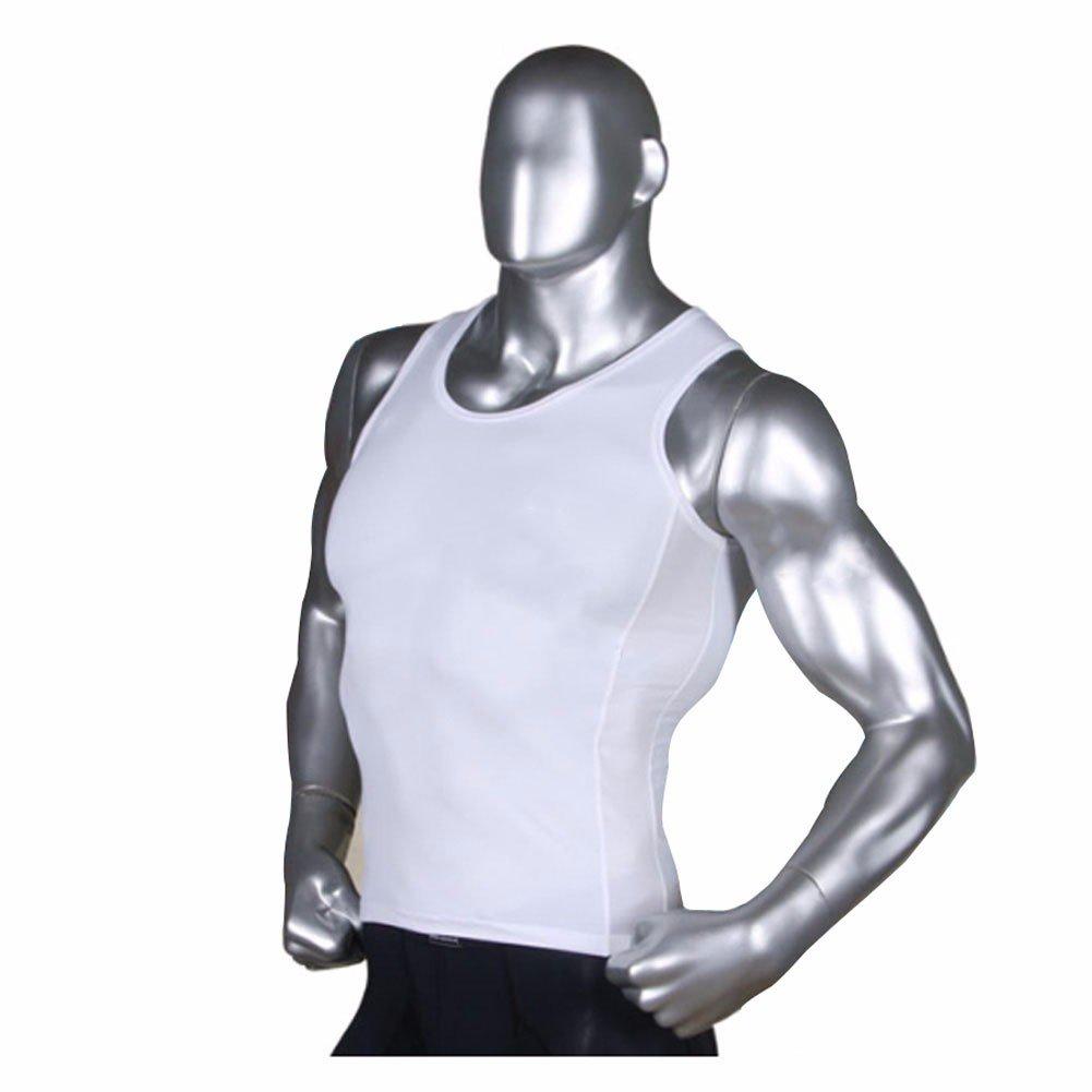 Mens Tank Top Gym Compression Undershirt Under Base Layer Underwear Mesh Aqua QR Henri maurice