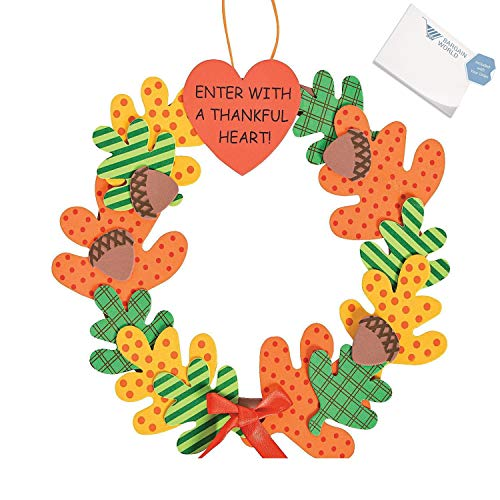 Bargain World Enter with a Thankful Heart Wreath Craft Kit (With Sticky Notes)
