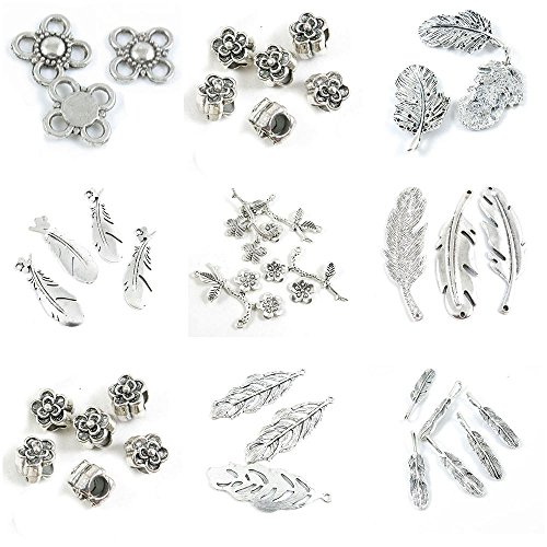 38 Pieces Antique Silver Tone Jewelry Making Charms Feather Plumage Plume Plum Blossom Loose Beads Connector Flower Blossoms Branch ()