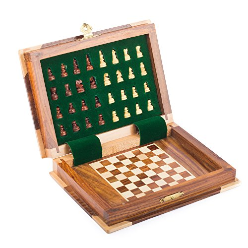 StarZebra 7 Inch Magnetic Chess Set Board Game - Book Shaped (Chess Board Wooden Book)