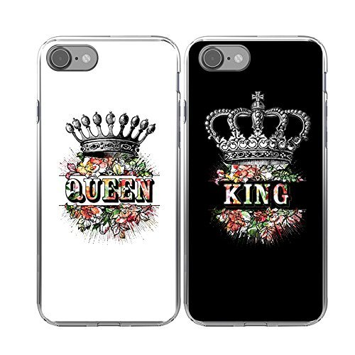 iPhone 8 2 Cases,TTOTT 2x Fashion King Queen Crown Slim soft TPU hard cover cases for iPhone 8 4.7inch,Best friend Boyfriend Girlfriend couple gift