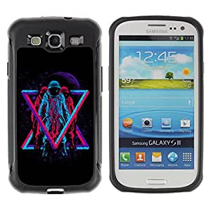 Hybrid Anti-Shock Defend Case for Samsung Galaxy S3 / Cool Hipster Neon Astronauts