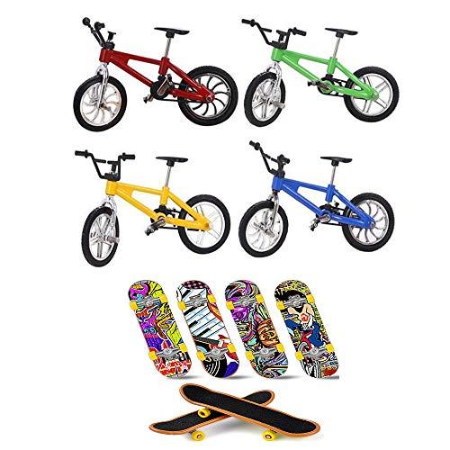 8PC 미니 자전거 및 스케이트 보드 4 개의 미니 손가락 마운틴 자전거 및 4 개의 원본이 우수한 기능성 금속 장난감 MINI 익스트림 스포츠 손가락 자전거 멋진 소년이 장난감 창의적인 게임을 선물 장난감