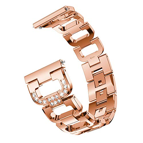 Kaicran for Samsung Galaxy Watch (46mm) Watch Bands, Women Elegant Stainless Steel Metal Replacement Strap with Rhinestone (Rose Gold) 46 Mm Metal Step