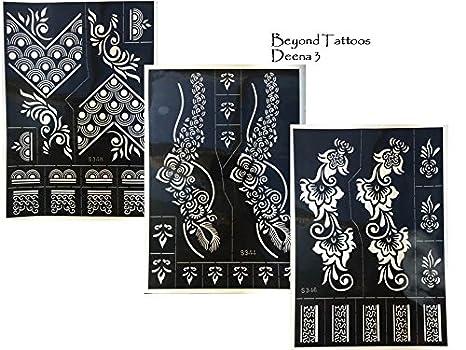 Beyond Tattoos Plantilla de Tatuaje 3 Hojas Grandes Henna Designs ...