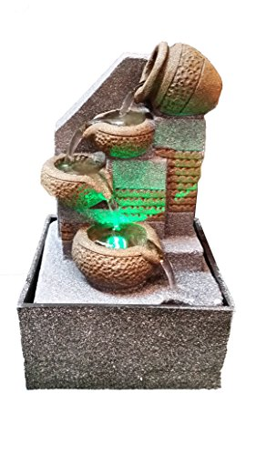 4-Tier Tabletop Water Fountain with LED Lights 6.5 Inch Tall Decorative Sculpture