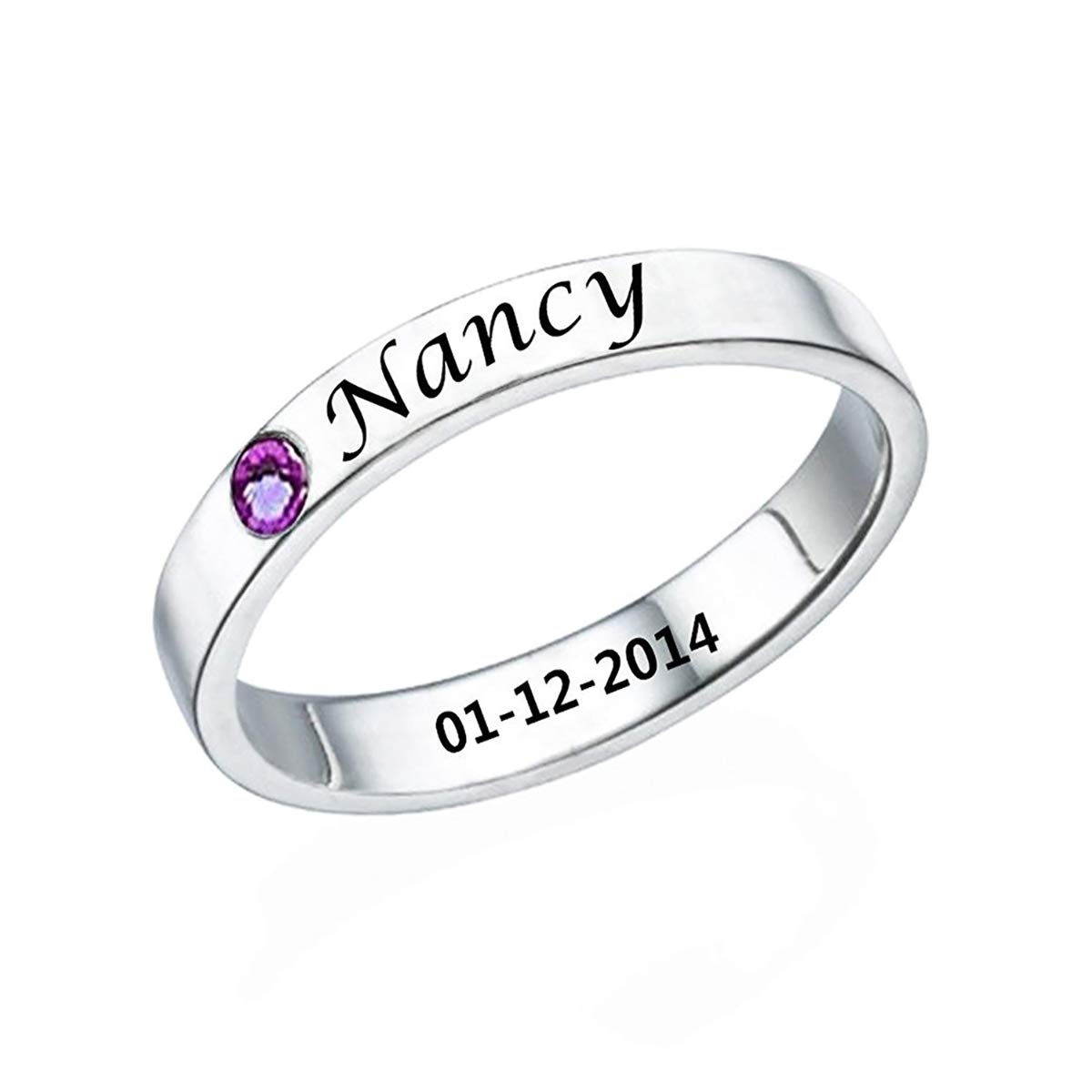 VERSUSWOLF Personalized Birthstone Promise Ring Custom Made with Name & Date (Silver)