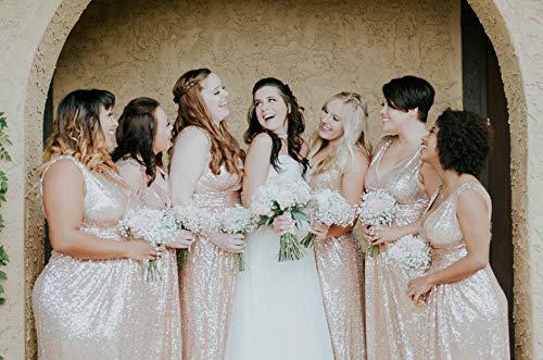 Kate Kasin Women Sequin Bridesmaid Dress Sleeveless Maxi