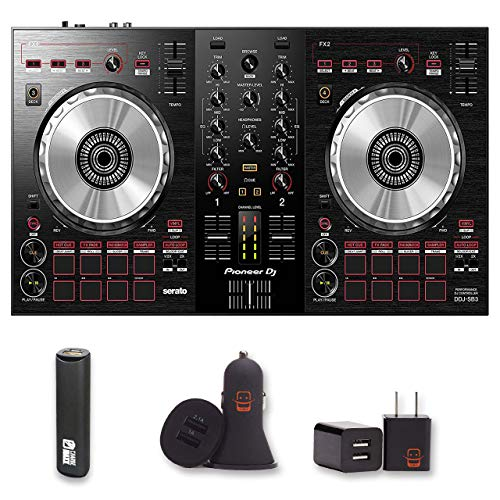 Price comparison product image Pioneer DJ (DDJ-SB3) DJ Controller with 2 Year Warranty + PowerBank + USB Car Charger + USB Wall Charger,  EZEE Bundle