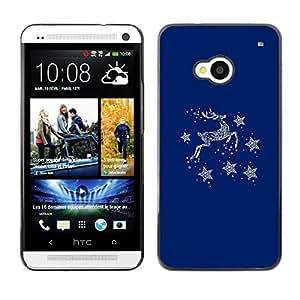 TopCaseStore / la caja del caucho duro de la cubierta de protección de la piel - Blue Deer Winter Stars Minimalist - HTC One M7