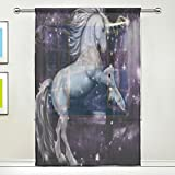ALAZA A Magic Unicorn under the Galaxy Sheer Window Curtain Polyester Gauze Curtain (Single Panel) 55×84 inch for Living Room For Sale