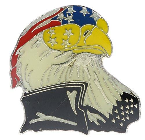Rebel Flag Hat Pin - Do-Rag American Eagle Biker Hat or Lapel Pin NovP326