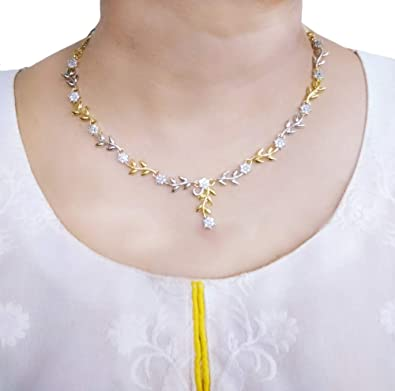 80c6f7eb9560a Buy Daphne Indian Jewelry Flora Golden Silver Zircon Necklace for ...