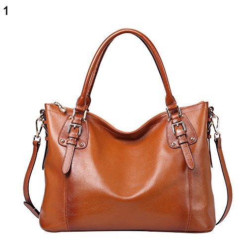 Leather Women Fashion Casual Reddish Shopping Brown Crossbody Genuine Big Solid Bag Handbag Cricteqleap Color 1awqqX