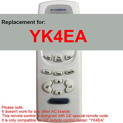 Replacement for GE Air Conditioner Remote Control Model Number YK4EA Works for AEH18DL AEH18DLG1 AEH18DM AEH18DMG1 AEH24DJ AEH24DJH1 AEH24DK AEH24DKH1 AEH25DL AEH25DLH1 AEH25DM AEH25DMH1 AEM14AM by Generic