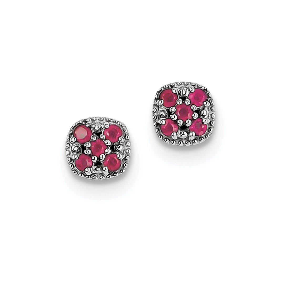 ICE CARATS 925 Sterling Silver Glass Filled Red Ruby Flower Post Stud Ball Button Earrings Gardening Fine Jewelry Ideal Mothers Day Gifts For Mom Women Gift Set From Heart
