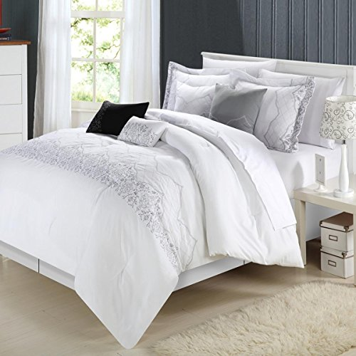 Chic Home Grace 8-Piece Comforter Set, Queen, White (White And Silver Bedding Sets)
