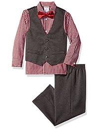 Boys' 4-Piece Formal Dresswear Vest Set with Bow Tie