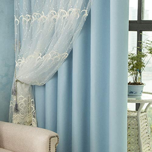 Blue Double-layer Modern Minimalist Curtain Finished Shade Black Fresh Embroidered Gauze Fashion Bedroom Living Room White Bay Window Landing,Dimensions(height Width): 2.5X2M, 2.5X2.5M, 2.5X3M, 2.5X3 ()