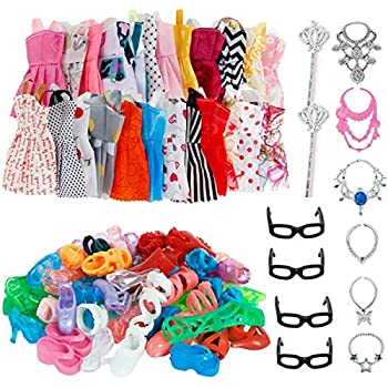 30 Pcs Doll Clothes Huge Lot Gown Outfits Party Accessories Barbie Girl Dresses