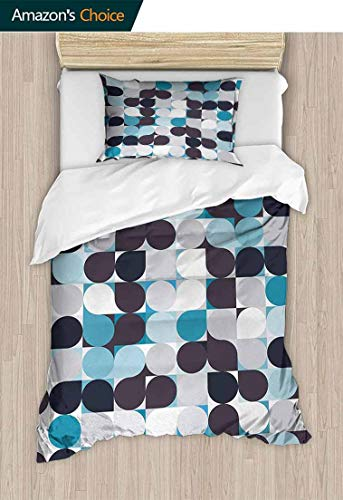 (Abstract Home 2 Piece Print Quilt Set, Retro Inner Circles Pattern with Squares Mosaic Style Old Fashion Print, Patterned Technique King Quilt Set,39 W x 51 L Inches, Brown Grey Teal White)
