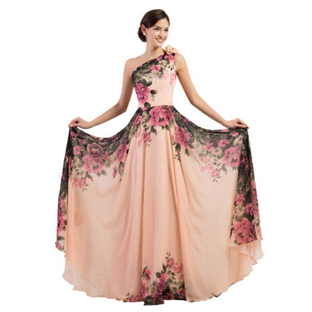 B Bridesmaid Dress Women's Floral Print Graceful Prom Dress for Evening Wedding Gowns Prom Party Dress for Cocktail Party (color   A, Size   US 8)