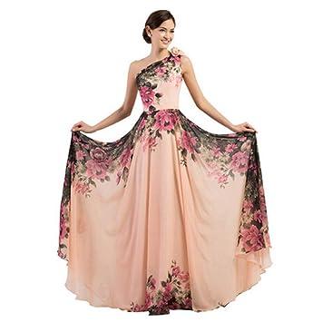 8ba41a2f9a Wenzhihua Vestido de Las señoras Vestido de Fiesta Elegante Estampado  Floral para la Noche