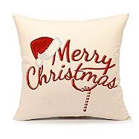 4ª emoción rojo feliz navidad funda de almohada decorativa Throw Cushion Case decoración del hogar 18 x 18 pulgadas de algodón de lino para sofá
