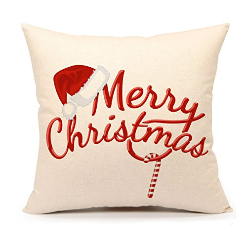 4TH Emotion Red Merry Christmas Pillow Cover Decorative Throw Cushion Case Home Decor 18 x 18 Inch Cotton Linen for Sofa - Merry Christmas Throw Pillow
