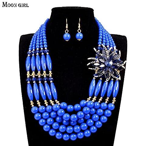Nigeria bridal wedding African beads jewelry set Fashion Statement Necklace for women Moon Girl Handmade Braid Jewelry sets - Braid Vintage Necklace
