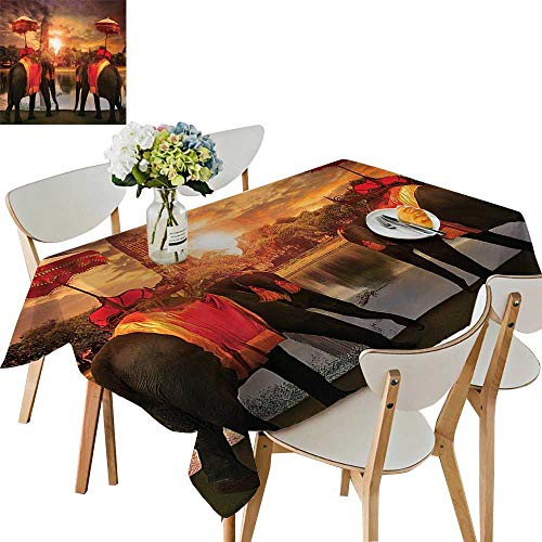 UHOO2018 Square/Rectangle Polyester Table Cloth Elephants Dressing Traditial