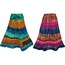Mogul Interior Womens Maxi Skirt Tie Dye Print Vintage Crinkle Summer Boho Hippie Flare Long Skirts