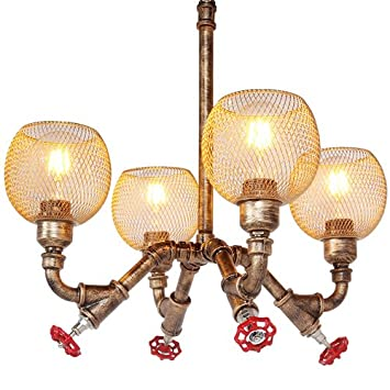 Modeen Lámparas rústicas industriales de Steampunk de la Vendimia Waterpipe del Tubo Colgante Retro del Techo 4 lámparas Lámparas Antiguas de la lámpara de ...
