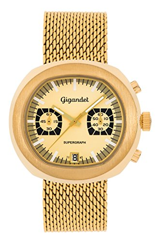 Gigandet Men's Quartz Wrist Watch Supergraph Chronograph Analogue Date Gold G11-004