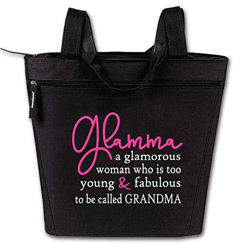 Glamma Large Zippered Tote Bag for Grandma, Nana, Grandmothers - Large, Durable Zippered Women Totes with Pockets - Perfect Gift for Grandma, Nana, Gigi, Mimi, Oma (Glamma Tote Black)