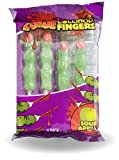 "Zombie Lollipop 2.5"" Fingers Sour Apple Flavor 4 Pack Individually Wrapped Suckers Halloween Candy"