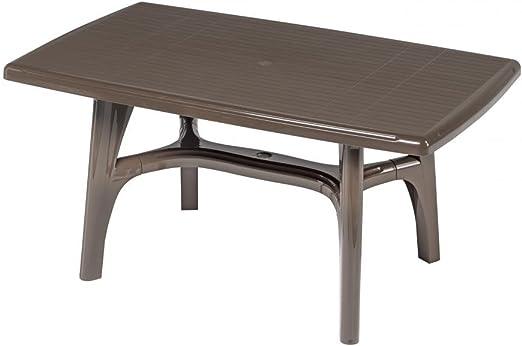 Mesa rectangular para exterior, Mesa Resina 150 x 90, mesa Cacao para jardín: Amazon.es: Hogar