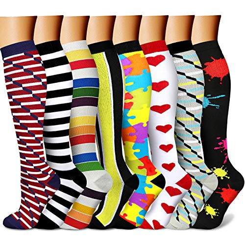 CHARMKING Compression Socks for Women & Men Circulation 8 Pairs 15-20 mmHg is Best Support for Athletic Running Cycling