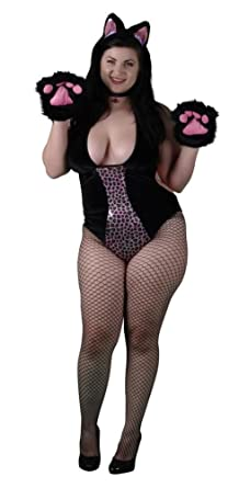963671b47c8 Image Unavailable. Image not available for. Color  Delicate Illusions Plus  Size Feisty Cat Womens Halloween Costume ...