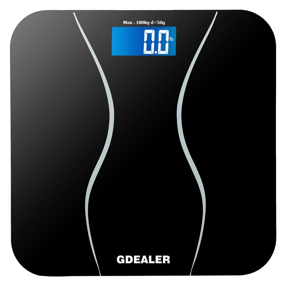 GDEALER Digital Bathroom Scale 400lb/180kg Body Weight Bathroom Scale, Elegant Black 6mm Tempered Glass, Step-On Technology, High Precision, Extra Large Lighted Display