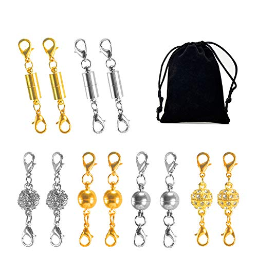 (NACTECH 12Pcs Magnetic Lobster Clasps Double Gold and Silver Strong Magnetic Jewelry Closure with Velvet Bag for Necklace Bracelet Pendant Extender)