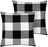 InnoGear Set of 2 Black and White Throw Pillow Cover, Classic Buffalo Check Cotton Linen 18 x 18 inch for Farm