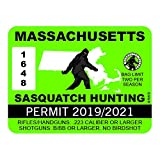 "RDW Massachusetts Sasquatch Hunting Permit - Color Sticker - Decal - Die Cut - Size: 4.00"" x 3.00"""